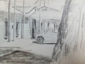 Oruro Boliva train station travel sketching