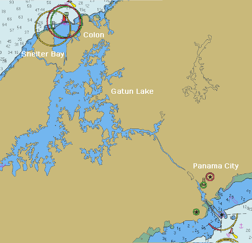 A chart of the Panama Canal with Gatun Lake.