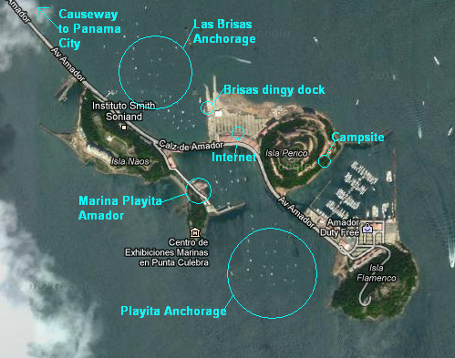 A map of the Panama City Marina on the Causeway.