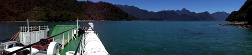 A panoramic from the Patagonian ferry crossing.