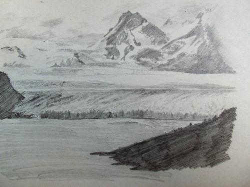 Perito Moreno Glacier drawing in Patagonia Argentina.