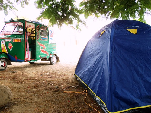 Camping in a village in Peru, waking to taxistas.