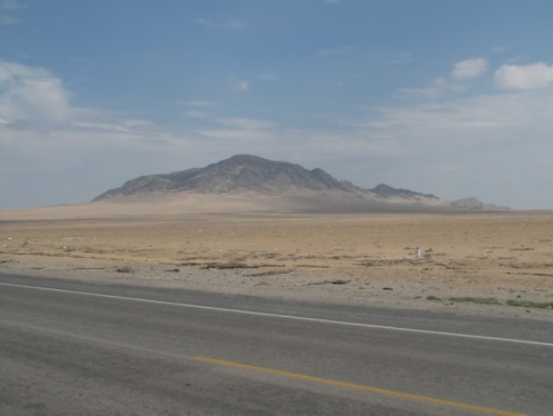 Finding a place to camp in the Peruvian desert near Chiclayo.