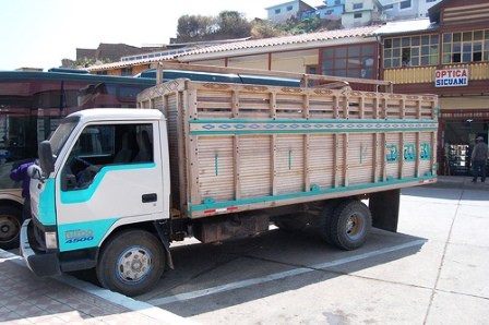 The wooden truck that took me along in Peru.