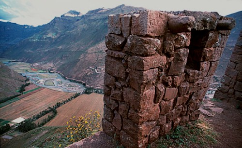 One of the lookout towers at the Pisaq ruins in Peru.