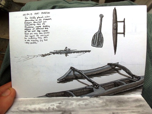 Once I arrived to Tahiti, I made this travel sketch of a Polynesian canoe, known for its outrigger.
