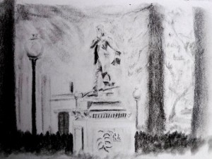 Travel drawing of Popoyan statues