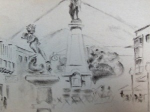 Sketch of Potosi, Bolivia. A travel drawing.