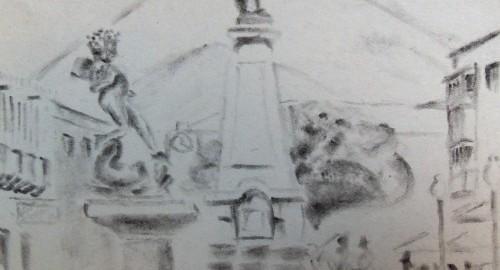 Sketch of Potosi, Bolivia. A travel drawing.