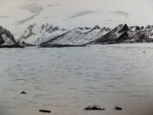 Travel drawing of Puerto Natales Bay