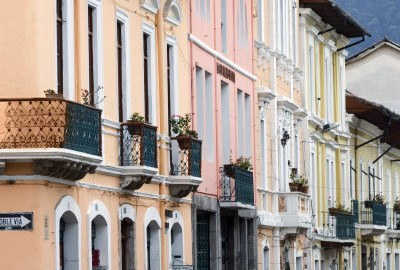 The pastl-hued colonial homes of Quito, Ecuador.