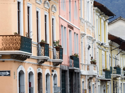 The pastel-hued colonial homes of Quito, Ecuador.