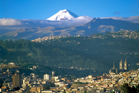 The volcano towering over Quito, Ecuador.