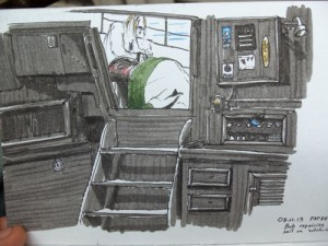 Travel sketching of sailboat cabin