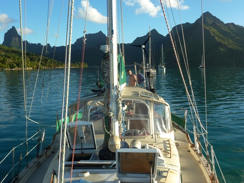 A picture of the sailboat moored in Moorea, French Polynesia.