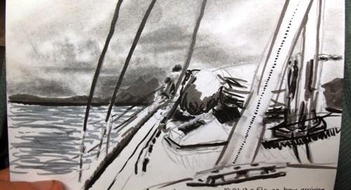 Travel drawing of sailing into American Samoa's Pago Pago