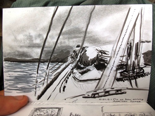 Travel drawing of sailing into American Samoa's Pago Pago