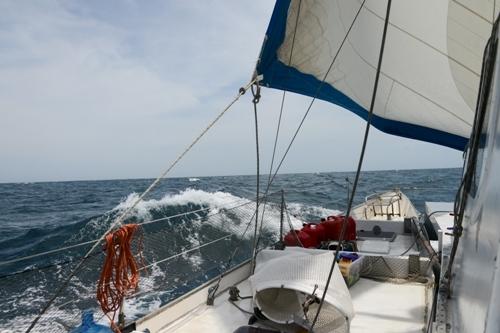 Rough seas sailing to the Galapagos from Panama City.