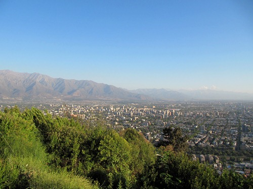 The view over Santiago from San Cristobal Hill.