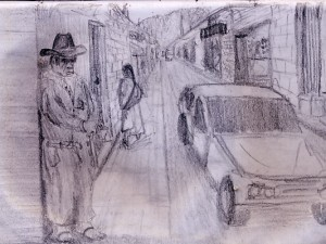 A travel sketch of a man on the street begging for change in San Cristobal de las Casa, Mexico.