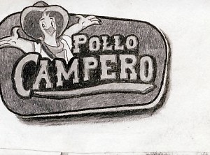 San Jose restaurant - pollo campero drawing