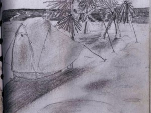 San Pedrito Beach Travel Drawing