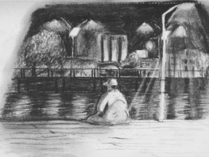 A travel sketch of Santarem's dock in Brazil.