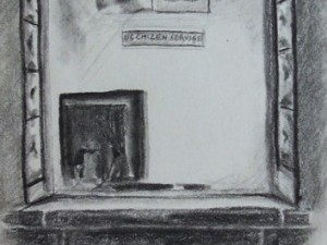 Drawing of US embassy window in Santiago, Chile