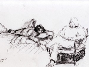 Sketch of People Sitting