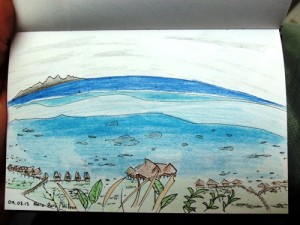 Travel sketch of Bora Bora, French Polynesia