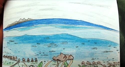 Travel sketch of Bora Bora, French Polynesia