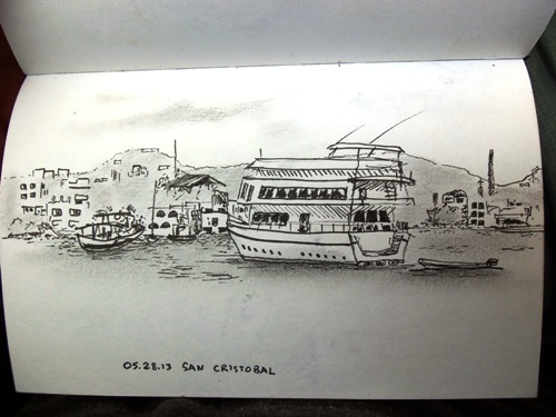 Sketching in the Galapagos Islands