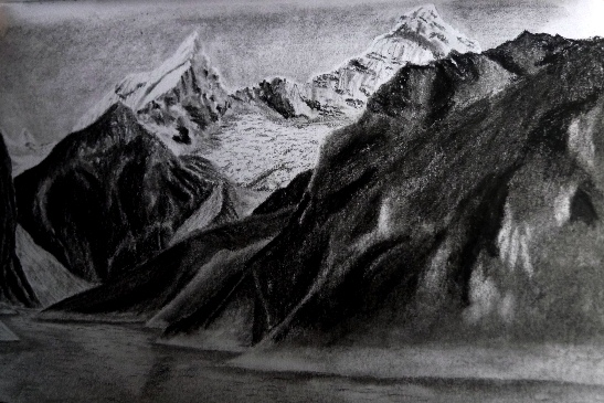 Sketching mountains in Peru