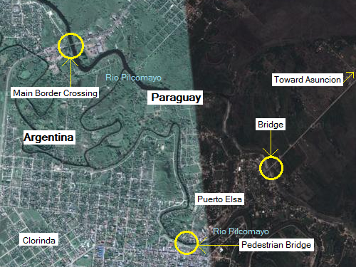A map of how to sneak into Paraguay from Clorinda, Argentina.