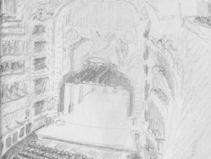 Travel drawing Teatro Colon Buenos Aires