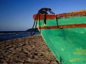 A boat on the beach of Tela, Honduras.