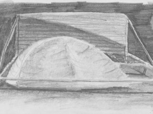 Drawing of tent in back of truck in Braizl
