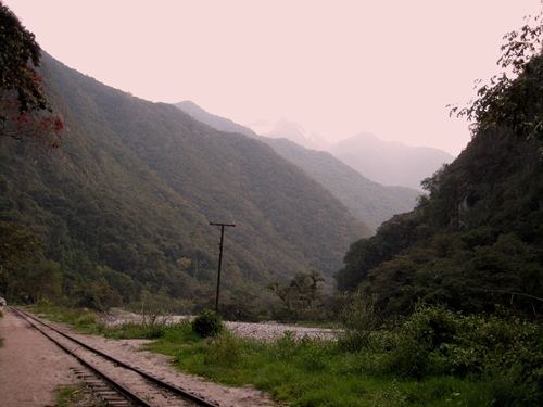 Walking the traintrack to Machu Picchu from Santa Teresa.