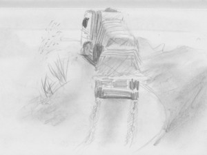 Travel drawing of Transamazon Highway truck in Brazil.