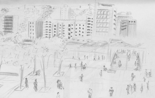 La Hoya, Caracas' Market travel sketch.