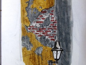 A travel drawing of a Cartagena wall.