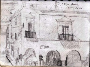 Travel drawing of Merida, Mexico Streets