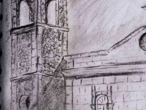 Travel drawing in Mexico, this time the La Paz cathedral.