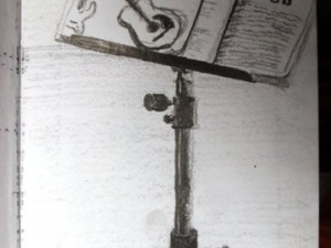 A drawing of a music stand