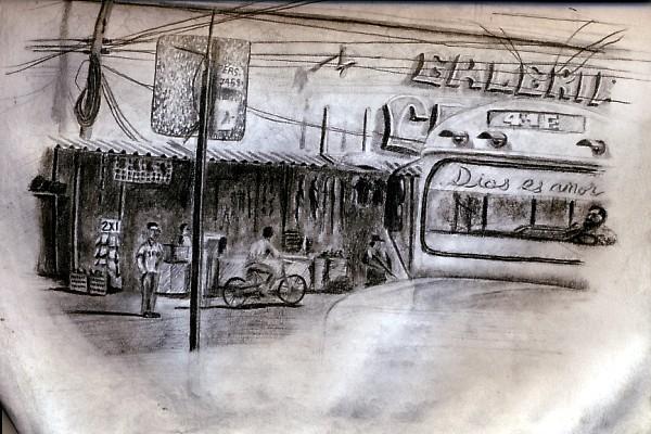 Travel drawing from San Salvador, El Salvador