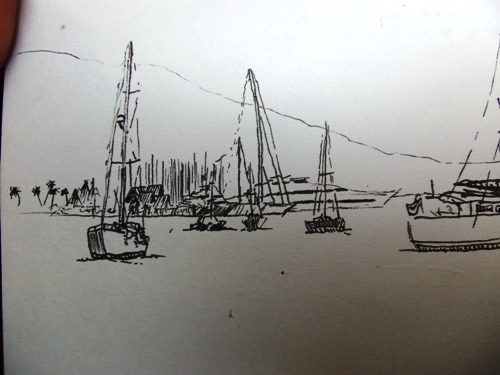 A travel sketch of the Marina Taina in Tahiti.