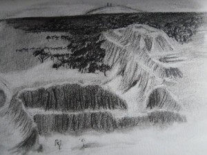 A drawing of the Tucume ruins in Peru.