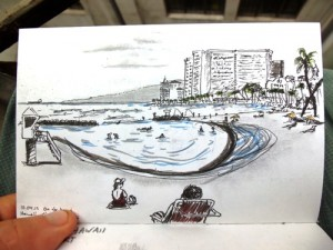 Sketch of Waikiki Hawaii
