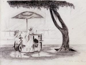 Sketch of a vendor in Leon, nicaragua.