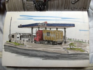 Sketching Hitchhiking the Panamerican Highway